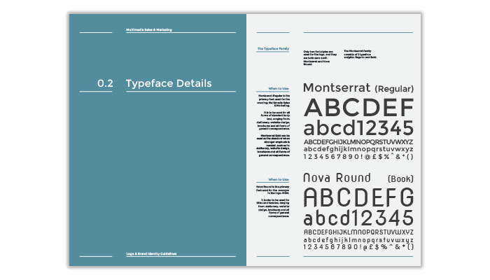 Excerpt from Corporate Identity Guidelines Manual: Brand typeface details and usage.