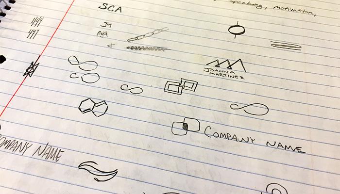 Initial logo design brainstorming